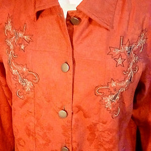 Alex Kim Size 1X red embroidered jacket